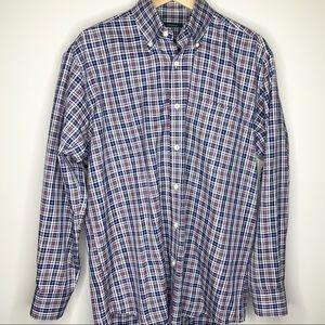 TURTLESON Blue Pink Plaid Button Down Golf Shirt M
